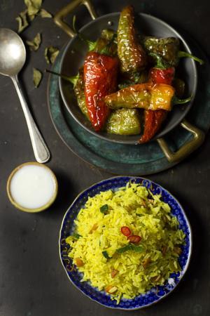 Riso al curry con friggitelli e yogurt