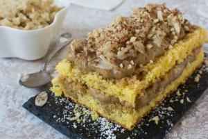Dessert di crema caffe' e mandorle con riso latte all'anice