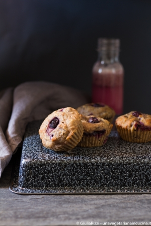Muffin di farro ai mirtilli vegan e senza zucchero