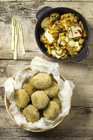 Polpettine di quinoa e amaranto con zucca e funghi