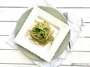 Spaghetti con pesto vegan e zucchine a julienne