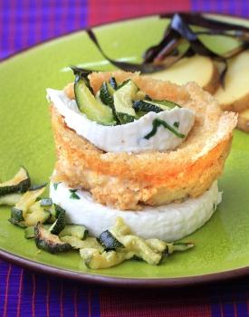 Tondi di patate sieglinde con zucchine e giuncata